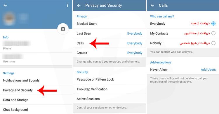 تماس صوتی در تلگرام
